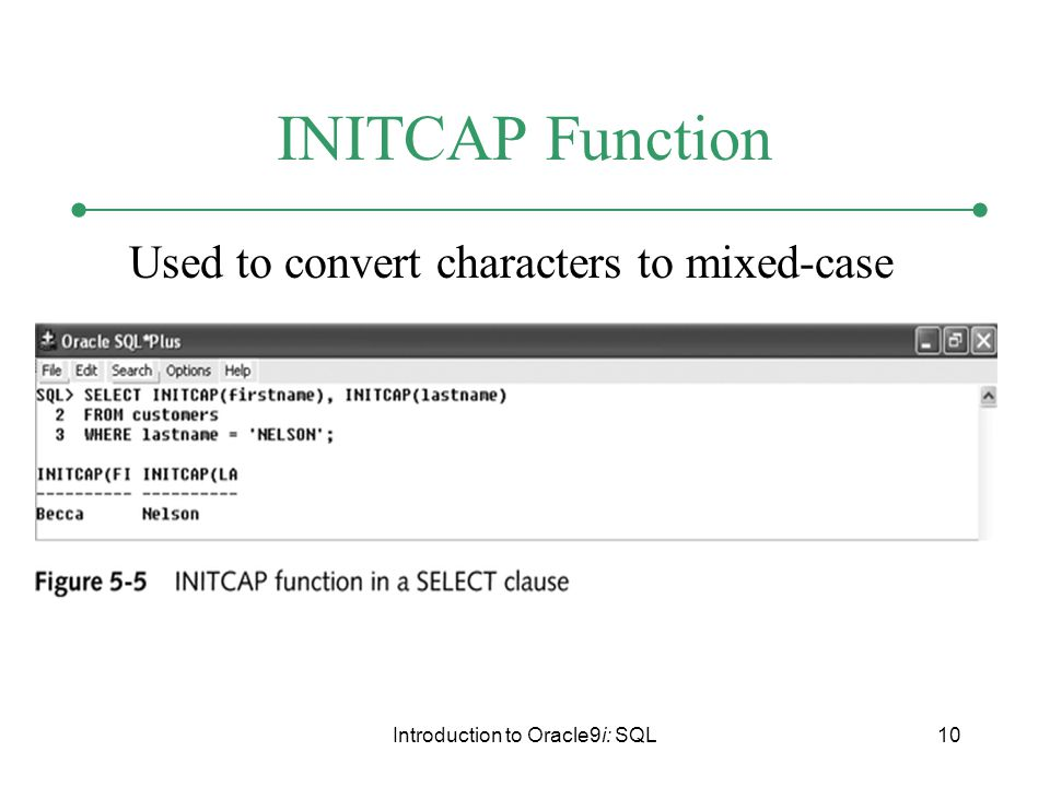 Introduction to Oracle9i: SQL10 INITCAP Function Used to convert characters to mixed-case