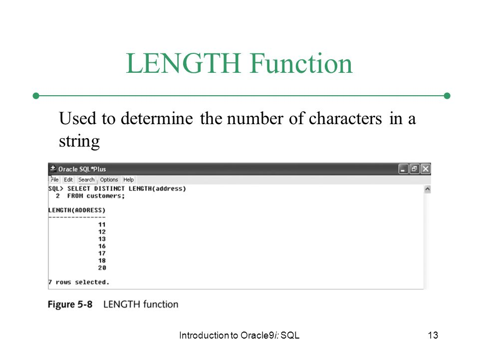 Introduction to Oracle9i: SQL13 LENGTH Function Used to determine the number of characters in a string