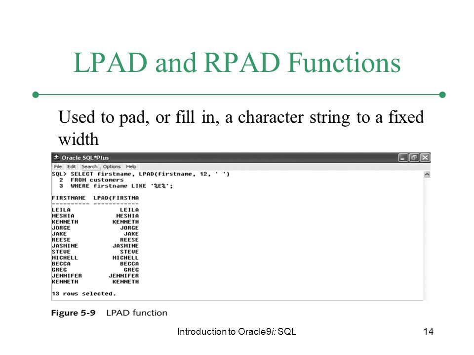 Introduction to Oracle9i: SQL14 LPAD and RPAD Functions Used to pad, or fill in, a character string to a fixed width