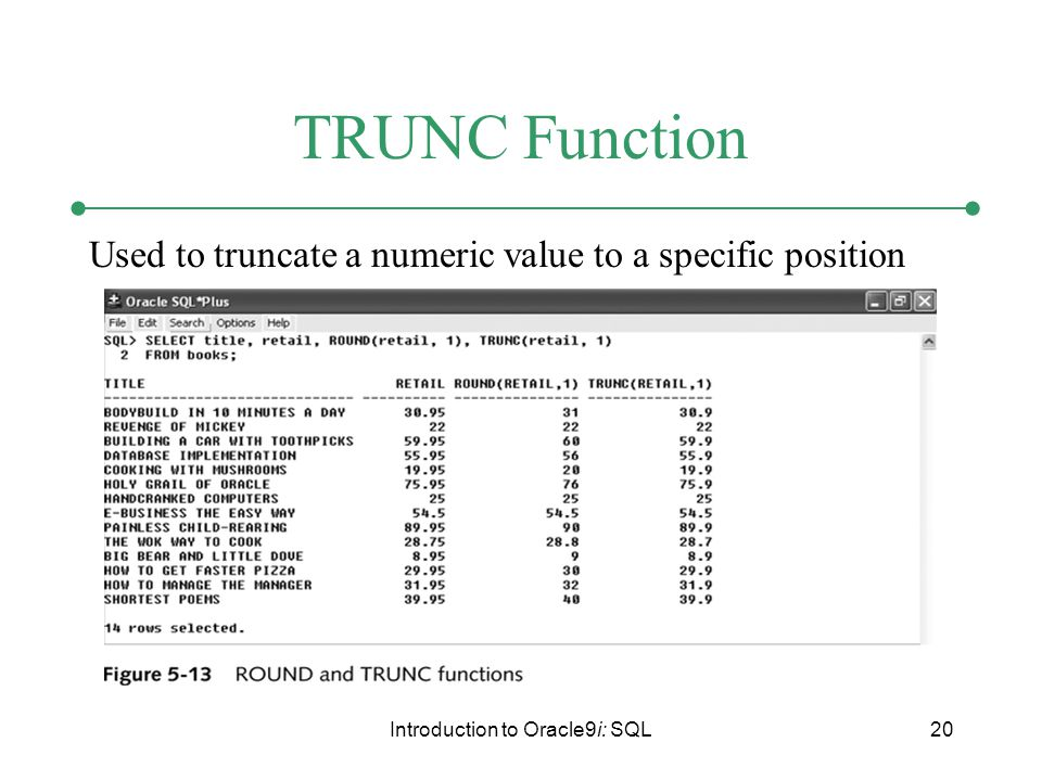 Introduction to Oracle9i: SQL20 TRUNC Function Used to truncate a numeric value to a specific position