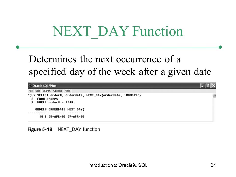 Introduction to Oracle9i: SQL24 NEXT _ DAY Function Determines the next occurrence of a specified day of the week after a given date