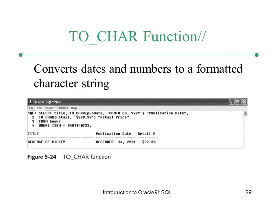 Introduction to Oracle9i: SQL29 TO_CHAR Function// Converts dates and numbers to a formatted character string