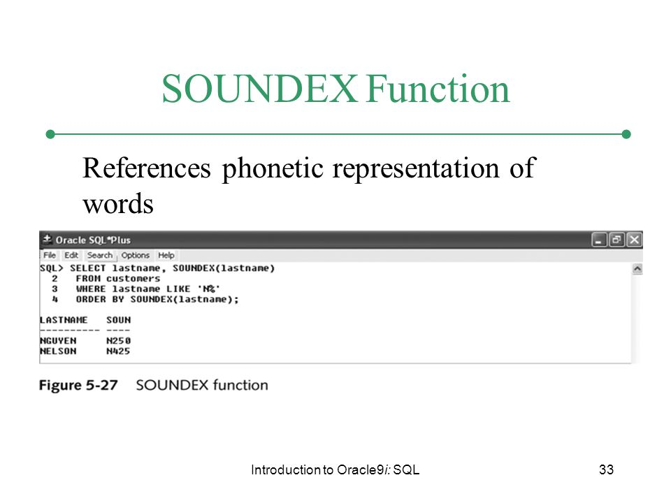 Introduction to Oracle9i: SQL33 SOUNDEX Function References phonetic representation of words