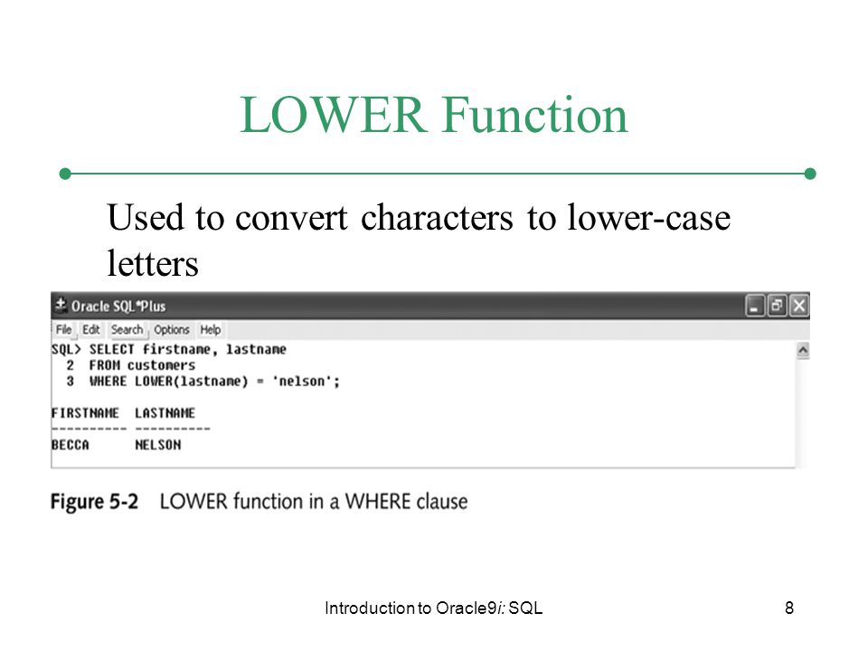 Introduction to Oracle9i: SQL8 LOWER Function Used to convert characters to lower-case letters