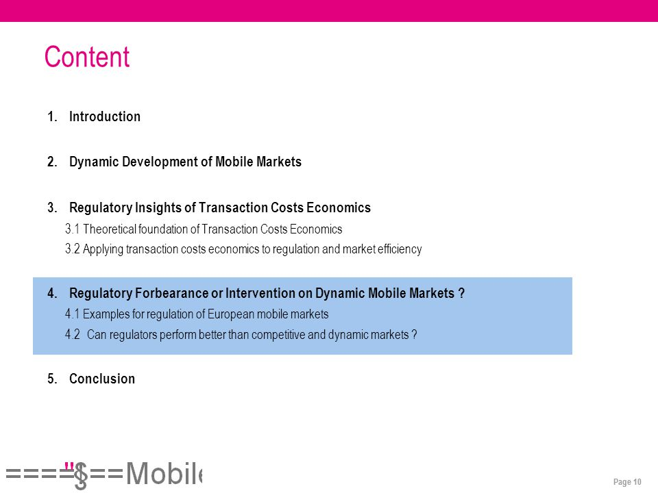 Page 10 Content 1.Introduction 2.Dynamic Development of Mobile Markets 3.