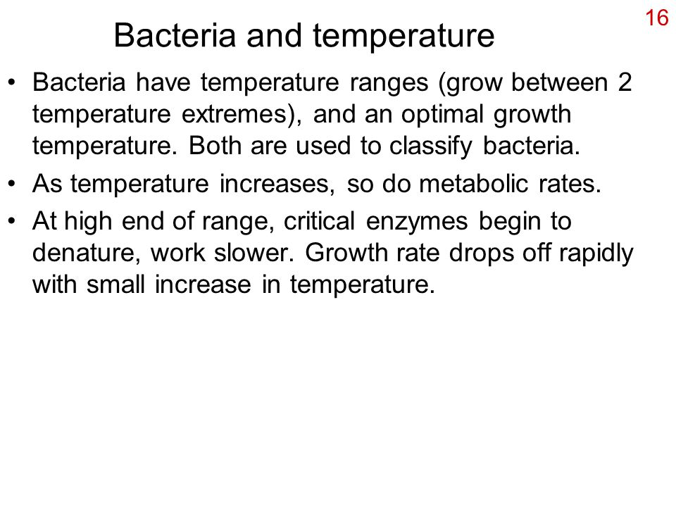 16 Bacteria and temperature Bacteria have temperature ranges (grow between 2 temperature extremes), and an optimal growth temperature.