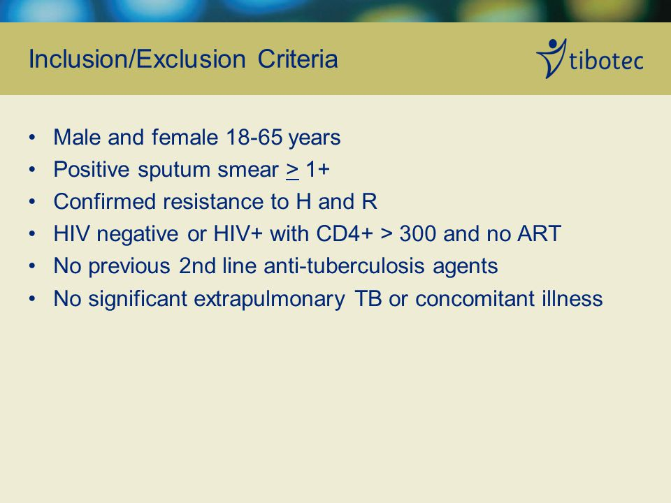 Inclusion/Exclusion Criteria Male and female years Positive sputum smear > 1+ Confirmed resistance to H and R HIV negative or HIV+ with CD4+ > 300 and no ART No previous 2nd line anti-tuberculosis agents No significant extrapulmonary TB or concomitant illness