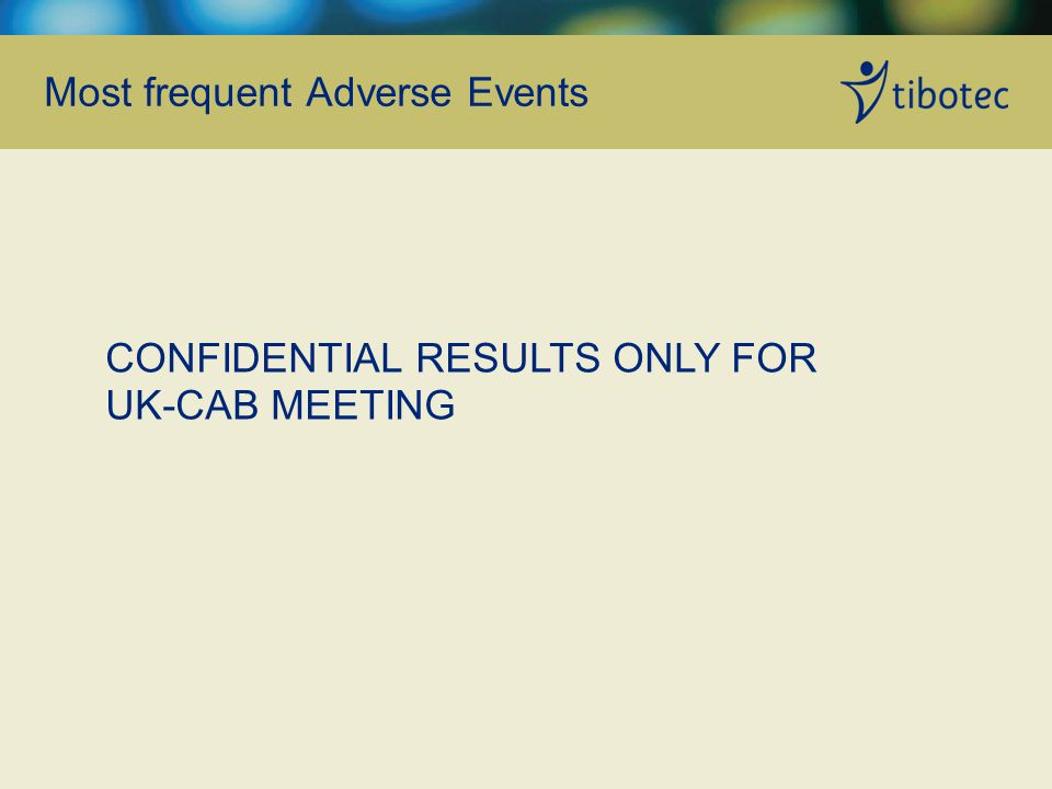 Most frequent Adverse Events CONFIDENTIAL RESULTS ONLY FOR UK-CAB MEETING