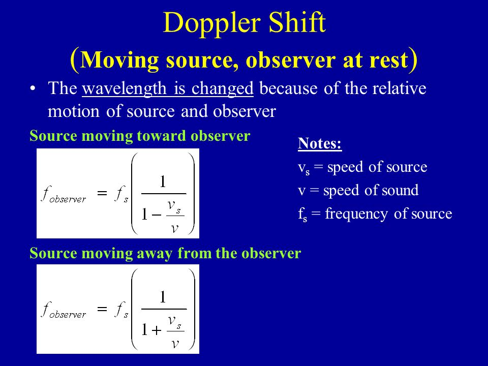 Doppler Shift ( Moving source, observer at rest ) The wavelength is changed because of the relative motion of source and observer Source moving toward observer Source moving away from the observer Notes: v s = speed of source v = speed of sound f s = frequency of source
