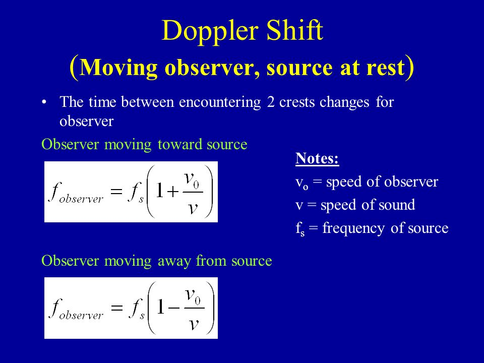 Doppler Shift ( Moving observer, source at rest ) The time between encountering 2 crests changes for observer Observer moving toward source Observer moving away from source Notes: v o = speed of observer v = speed of sound f s = frequency of source