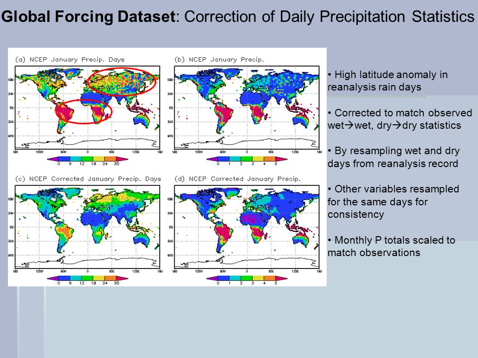 Global Forcing Dataset: Correction of Daily Precipitation Statistics High latitude anomaly in reanalysis rain days Corrected to match observed wet  wet, dry  dry statistics By resampling wet and dry days from reanalysis record Other variables resampled for the same days for consistency Monthly P totals scaled to match observations