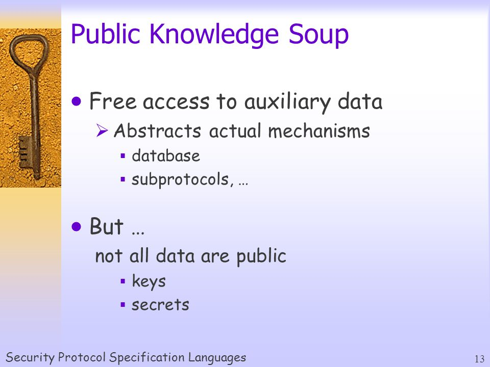 Security Protocol Specification Languages 13 Public Knowledge Soup  Free access to auxiliary data  Abstracts actual mechanisms  database  subprotocols, …  But … not all data are public  keys  secrets