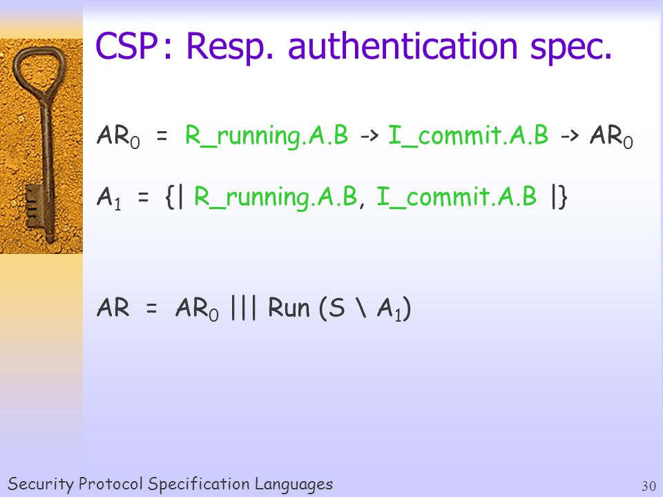 Security Protocol Specification Languages 30 CSP: Resp.