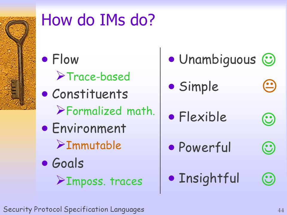 Security Protocol Specification Languages 44  Unambiguous  Simple  Flexible  Powerful  Insightful How do IMs do.