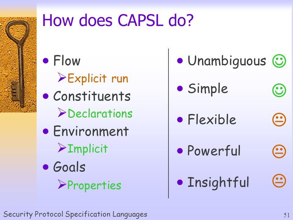 Security Protocol Specification Languages 51  Unambiguous  Simple  Flexible  Powerful  Insightful How does CAPSL do.