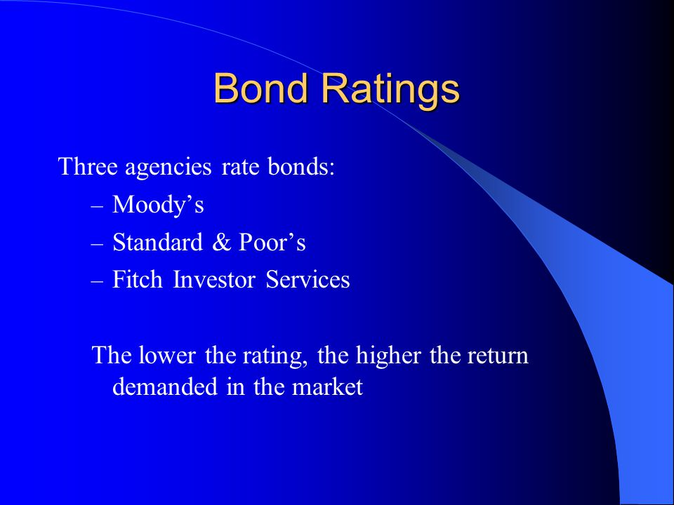 Bond Ratings Three agencies rate bonds: – Moody's – Standard & Poor's – Fitch Investor Services The lower the rating, the higher the return demanded in the market