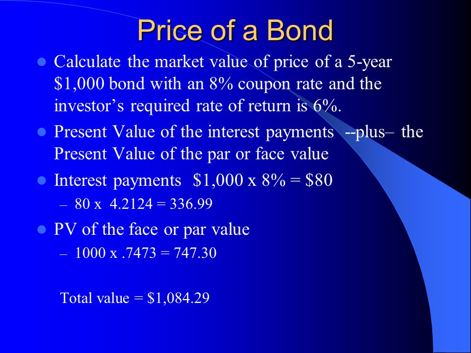 Price of a Bond Calculate the market value of price of a 5-year $1,000 bond with an 8% coupon rate and the investor's required rate of return is 6%.