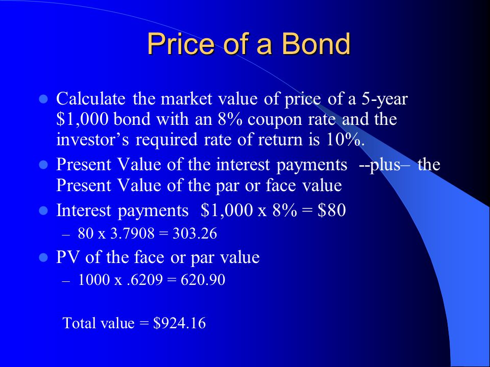Price of a Bond Calculate the market value of price of a 5-year $1,000 bond with an 8% coupon rate and the investor's required rate of return is 10%.