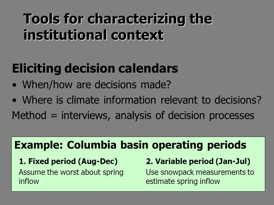 Example: Columbia basin operating periods Tools for characterizing the institutional context Eliciting decision calendars When/how are decisions made.