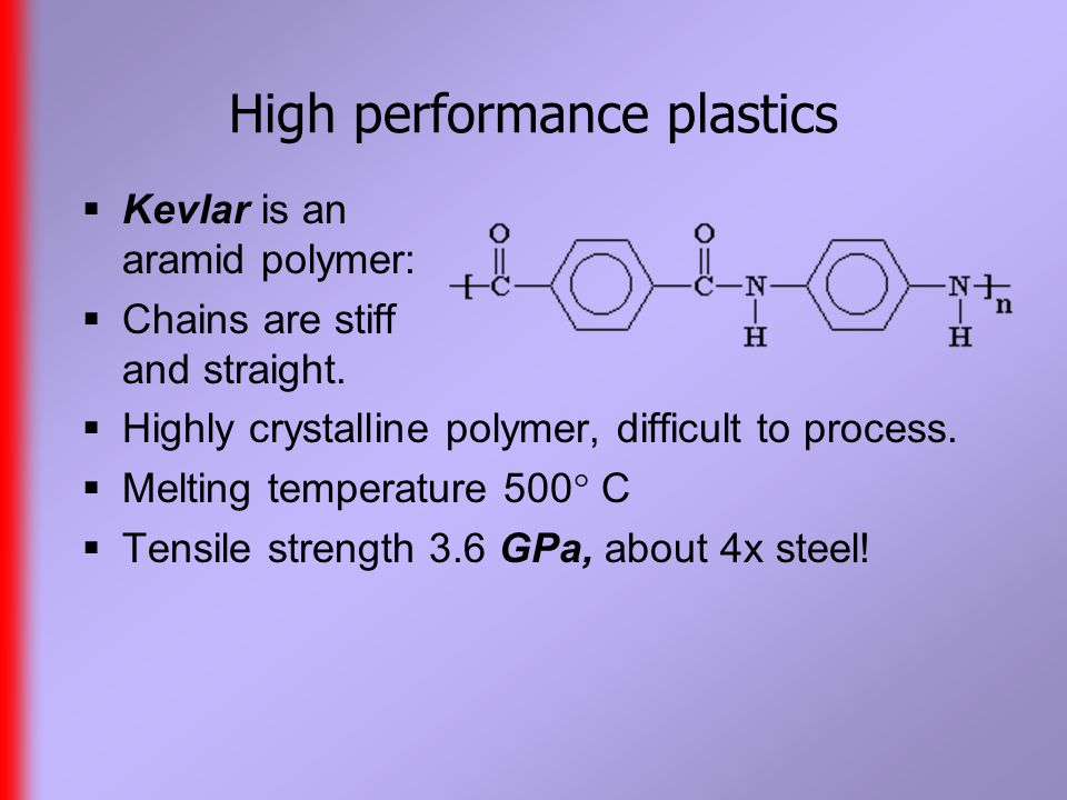 High performance plastics  Kevlar is an aramid polymer:  Chains are stiff and straight.