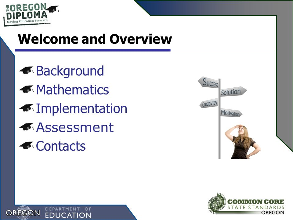 Background Mathematics Implementation Assessment Contacts Welcome and Overview