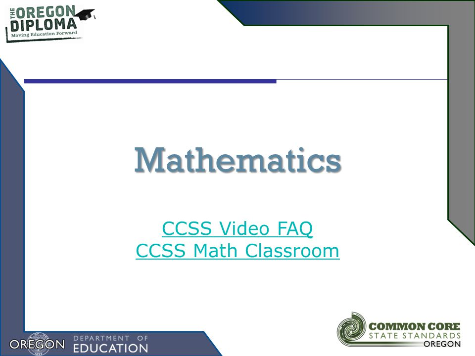 Mathematics CCSS Video FAQ CCSS Math Classroom