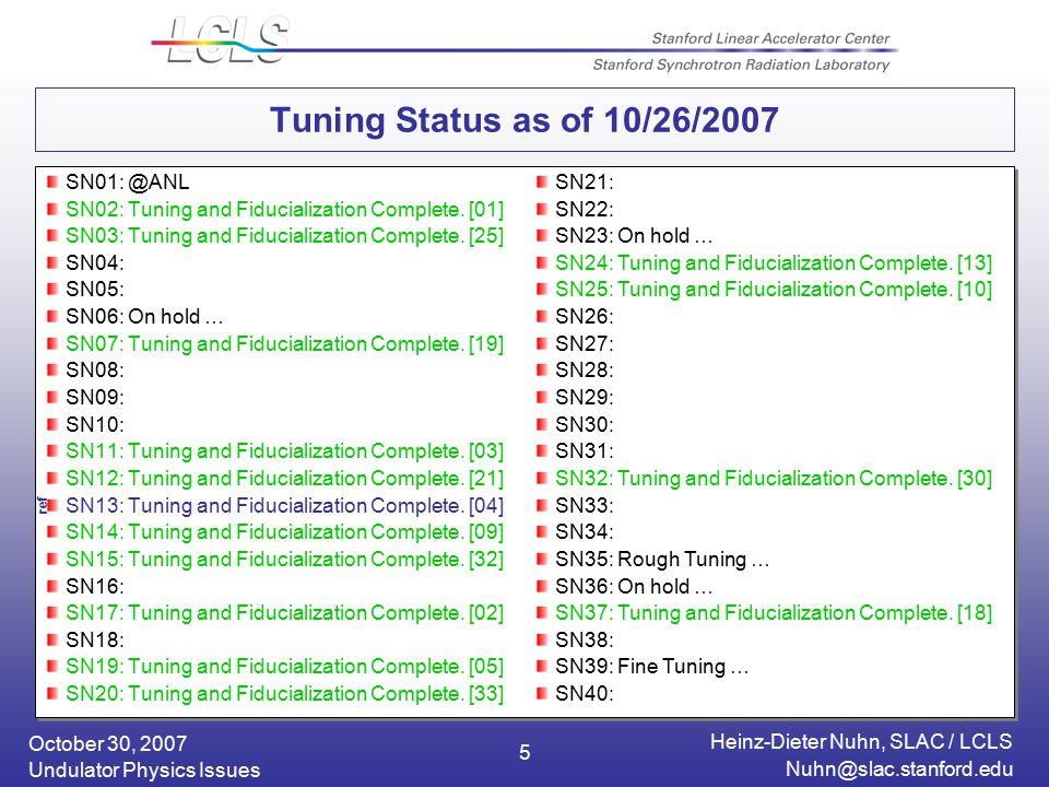 October 30, 2007 Heinz-Dieter Nuhn, SLAC / LCLS Undulator Physics Issues 5 Tuning Status as of 10/26/2007 SN02: Tuning and Fiducialization Complete.