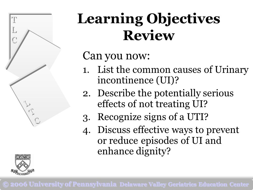 TLCTLC TLCTLC LTCLTC LTCLTC © 2006 University of Pennsylvania Delaware Valley Geriatrics Education Center Learning Objectives Review Can you now: 1.List the common causes of Urinary incontinence (UI).