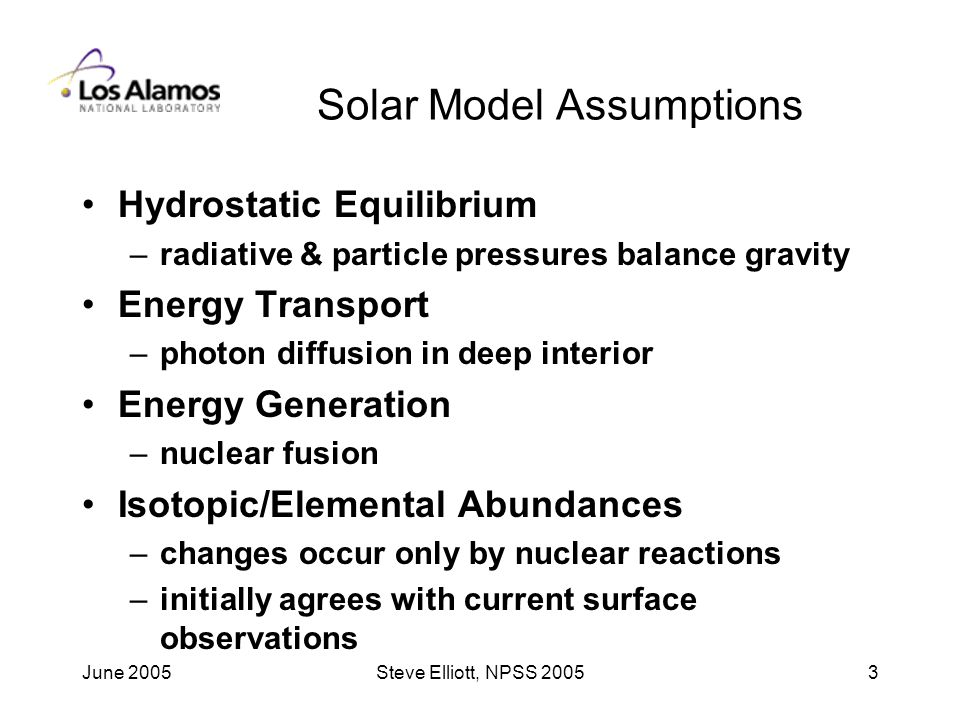 June 2005Steve Elliott, NPSS Solar Model Assumptions Hydrostatic Equilibrium –radiative & particle pressures balance gravity Energy Transport –photon diffusion in deep interior Energy Generation –nuclear fusion Isotopic/Elemental Abundances –changes occur only by nuclear reactions –initially agrees with current surface observations