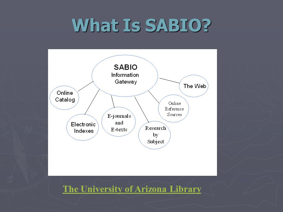 What Is SABIO The University of Arizona Library