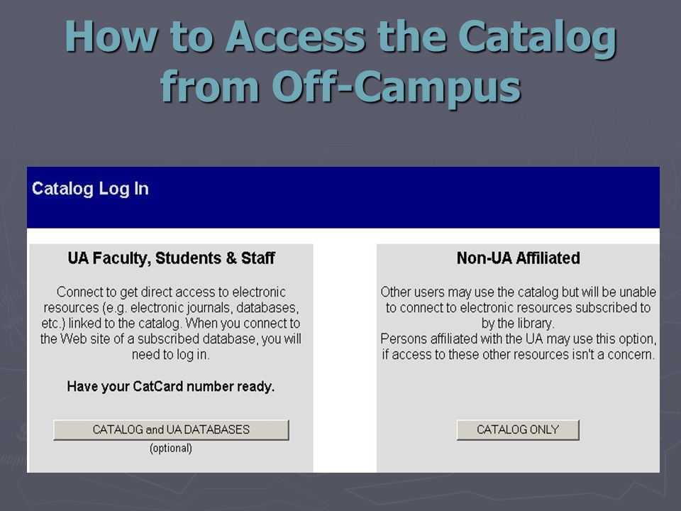 How to Access the Catalog from Off-Campus