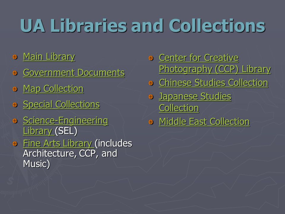 UA Libraries and Collections Main Library Main Library Government Documents Government Documents Map Collection Map Collection Special Collections Special Collections Science-Engineering Library Science-Engineering Library (SEL) Science-Engineering Library Fine Arts Library Fine Arts Library (includes Architecture, CCP, and Music) Fine Arts Library Center for Creative Photography (CCP) Library Chinese Studies Collection Japanese Studies Collection Middle East Collection