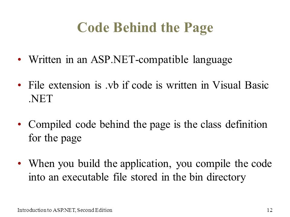 Introduction to ASP.NET, Second Edition12 Code Behind the Page Written in an ASP.NET-compatible language File extension is.vb if code is written in Visual Basic.NET Compiled code behind the page is the class definition for the page When you build the application, you compile the code into an executable file stored in the bin directory
