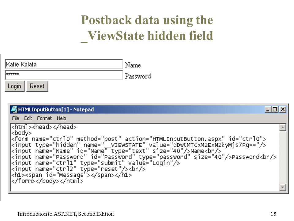 Introduction to ASP.NET, Second Edition15 Postback data using the _ViewState hidden field