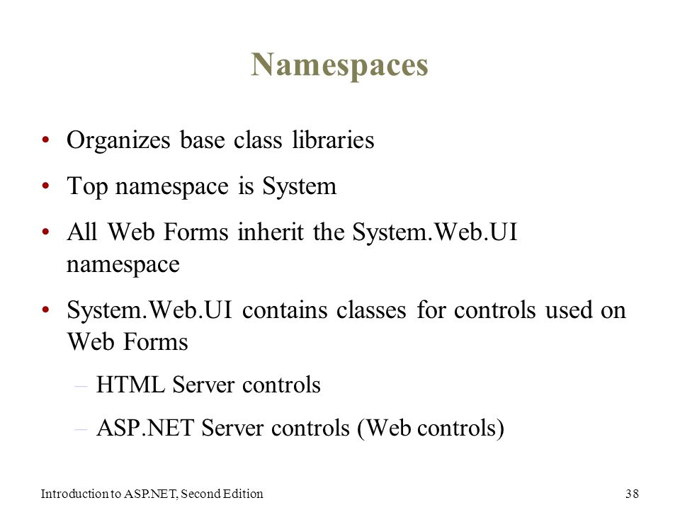 Introduction to ASP.NET, Second Edition38 Namespaces Organizes base class libraries Top namespace is System All Web Forms inherit the System.Web.UI namespace System.Web.UI contains classes for controls used on Web Forms –HTML Server controls –ASP.NET Server controls (Web controls)