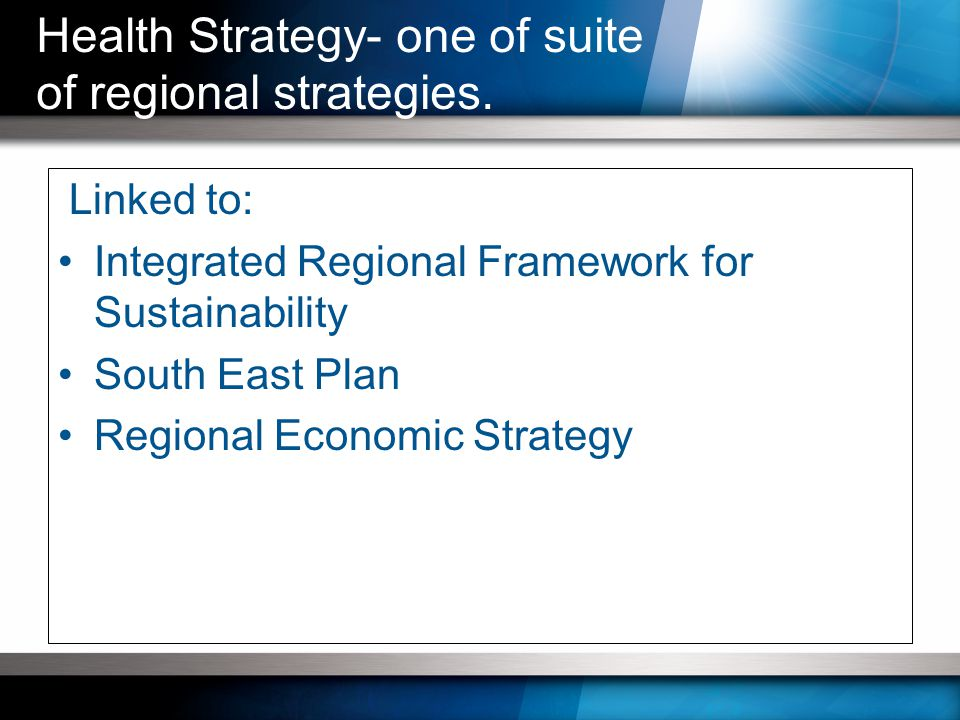 Linked to: Integrated Regional Framework for Sustainability South East Plan Regional Economic Strategy Health Strategy- one of suite of regional strategies.