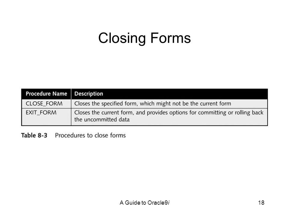 A Guide to Oracle9i18 Closing Forms