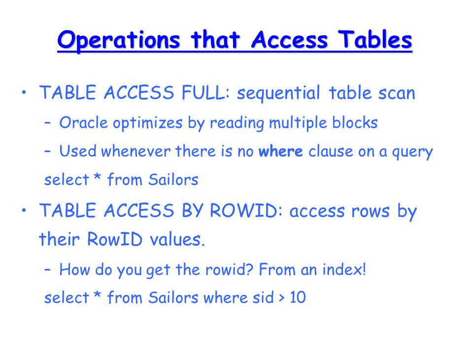 Oracle Optimizer  Types of Optimizers There are different