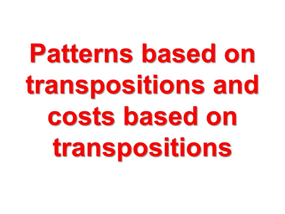 Patterns based on transpositions and costs based on transpositions