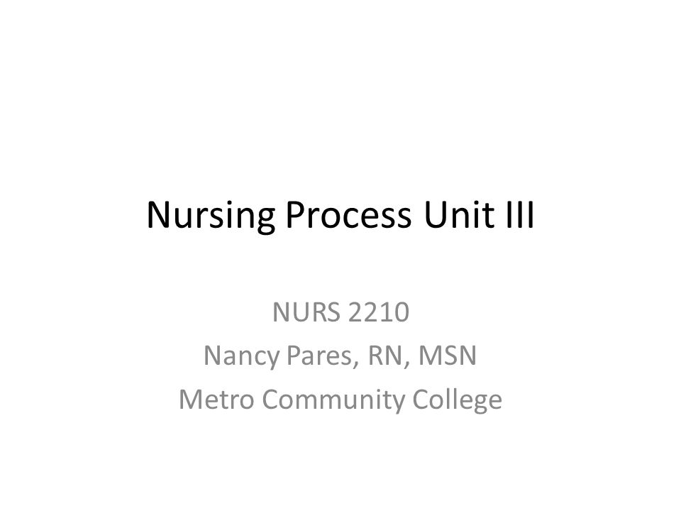 Nursing Process Unit III NURS 2210 Nancy Pares, RN, MSN Metro Community College