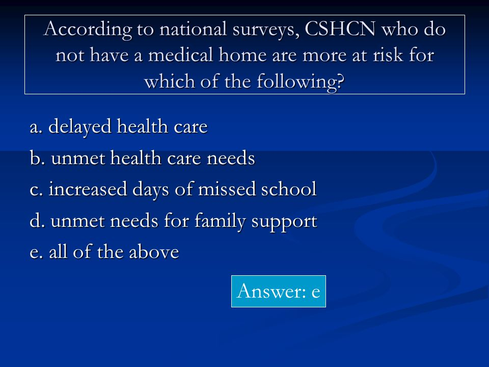 According to national surveys, CSHCN who do not have a medical home are more at risk for which of the following.