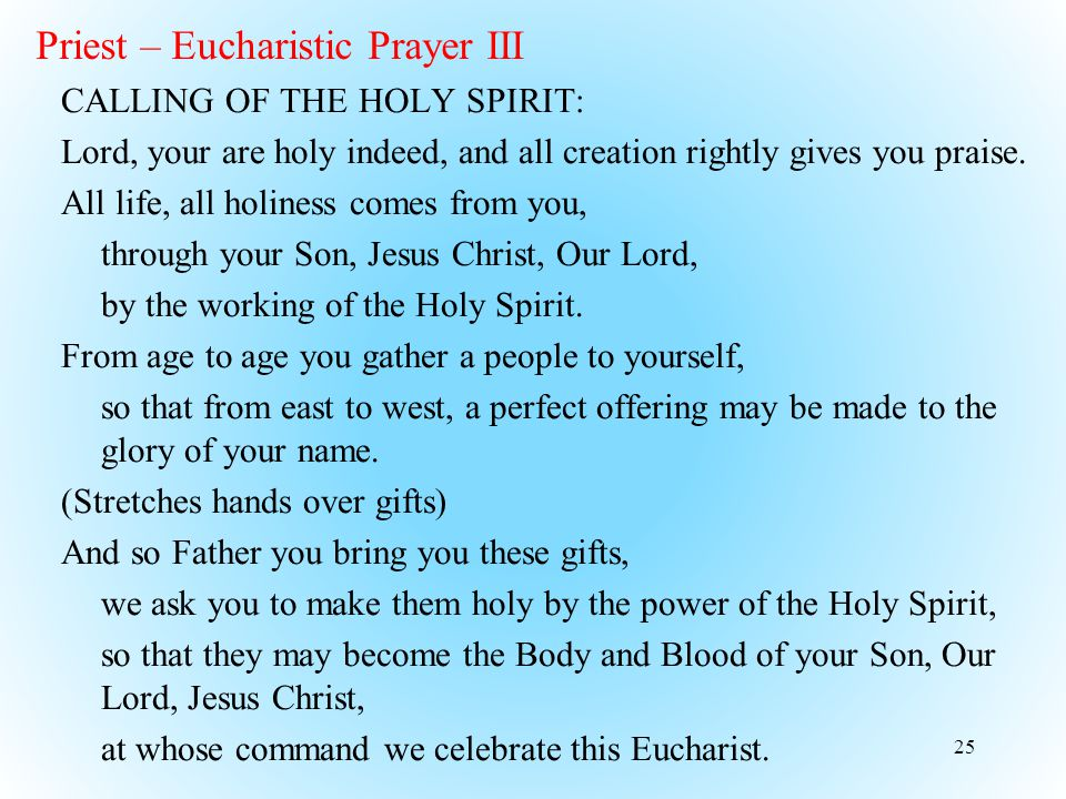 Priest – Eucharistic Prayer III CALLING OF THE HOLY SPIRIT: Lord, your are holy indeed, and all creation rightly gives you praise.