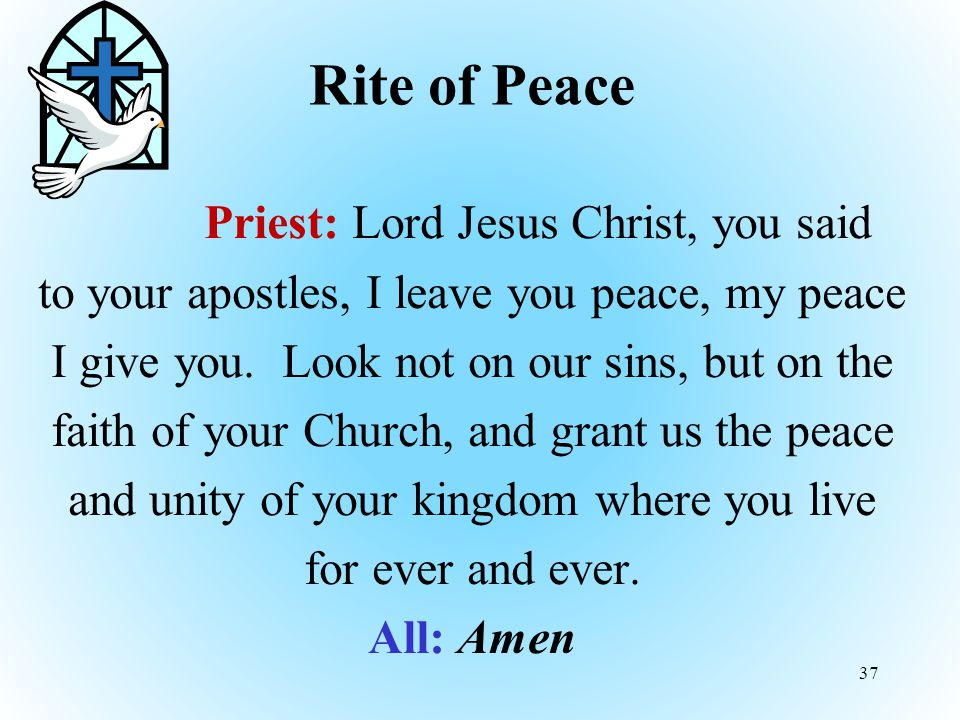 Rite of Peace Priest: Lord Jesus Christ, you said to your apostles, I leave you peace, my peace I give you.
