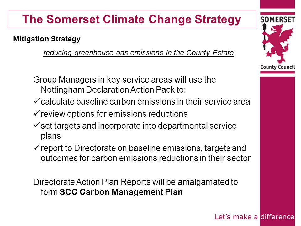 The Somerset Climate Change Strategy Mitigation Strategy reducing greenhouse gas emissions in the County Estate Group Managers in key service areas will use the Nottingham Declaration Action Pack to: calculate baseline carbon emissions in their service area review options for emissions reductions set targets and incorporate into departmental service plans report to Directorate on baseline emissions, targets and outcomes for carbon emissions reductions in their sector Directorate Action Plan Reports will be amalgamated to form SCC Carbon Management Plan