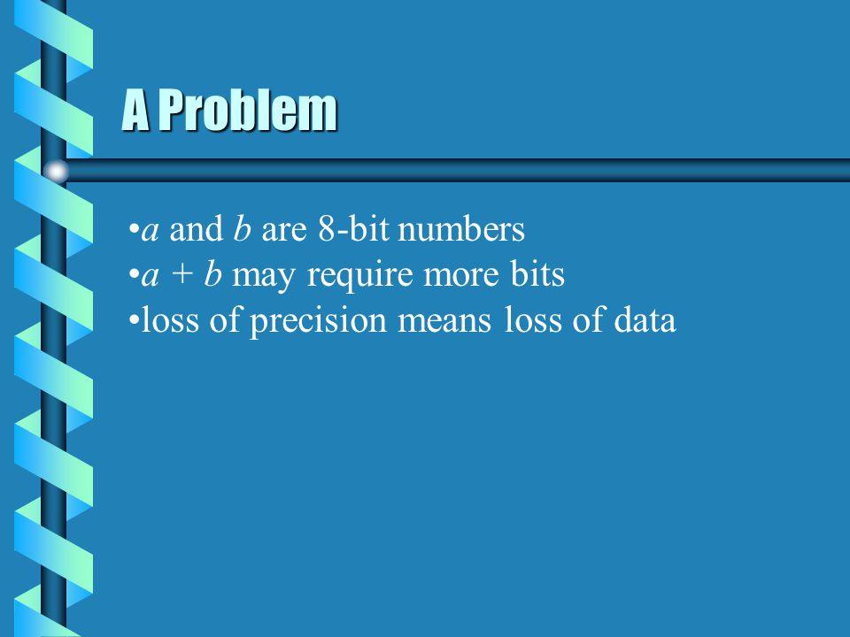 A Problem a and b are 8-bit numbers a + b may require more bits loss of precision means loss of data