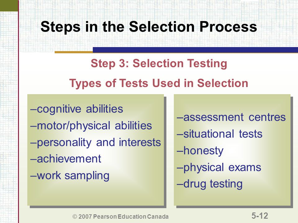 © 2007 Pearson Education Canada 5-12 Steps in the Selection Process –cognitive abilities –motor/physical abilities –personality and interests –achievement –work sampling –cognitive abilities –motor/physical abilities –personality and interests –achievement –work sampling Types of Tests Used in Selection –assessment centres –situational tests –honesty –physical exams –drug testing –assessment centres –situational tests –honesty –physical exams –drug testing Step 3: Selection Testing