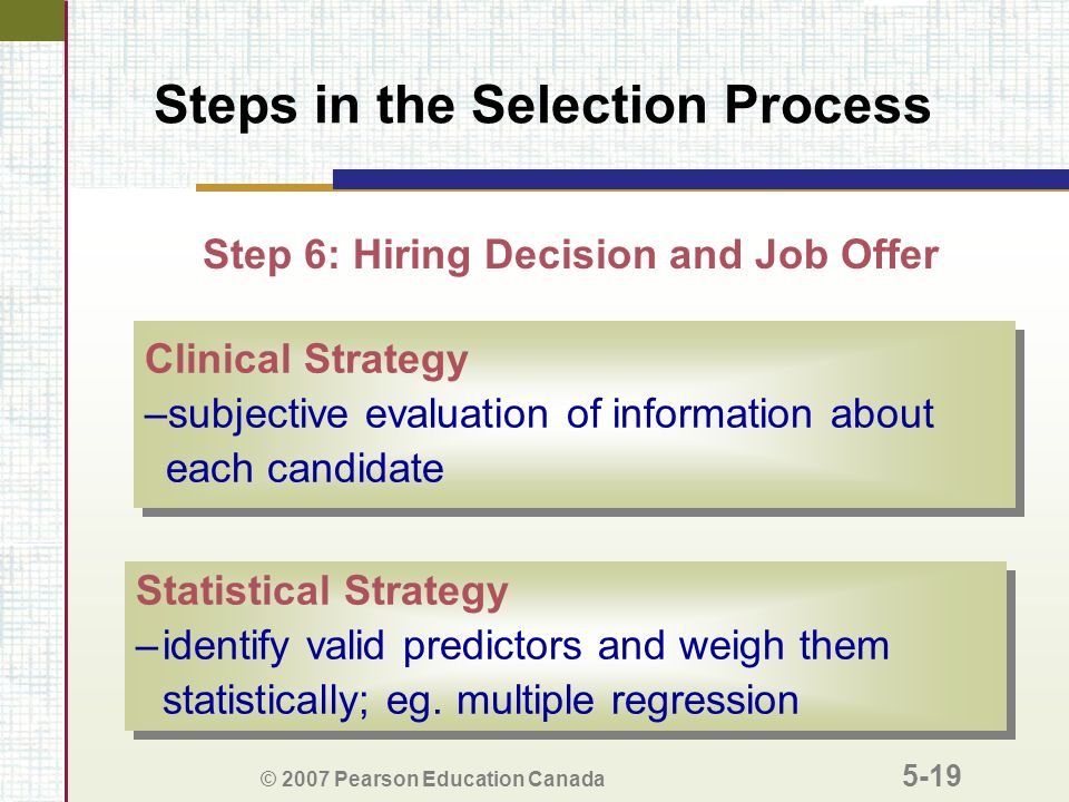 © 2007 Pearson Education Canada 5-19 Steps in the Selection Process Step 6: Hiring Decision and Job Offer Clinical Strategy –subjective evaluation of information about each candidate Clinical Strategy –subjective evaluation of information about each candidate Statistical Strategy –identify valid predictors and weigh them statistically; eg.