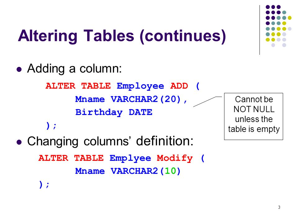 1 Table Alteration. 2 Altering Tables Table definition can be ...