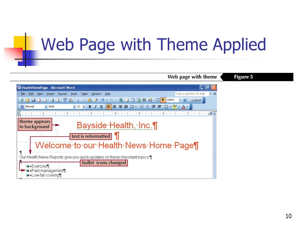 10 Web Page with Theme Applied