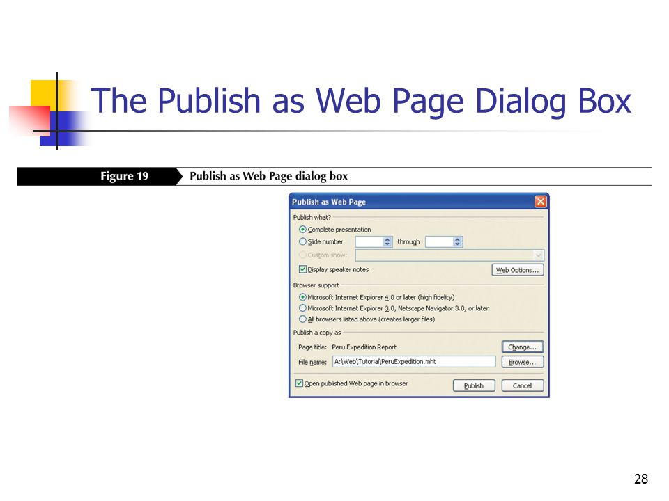 28 The Publish as Web Page Dialog Box